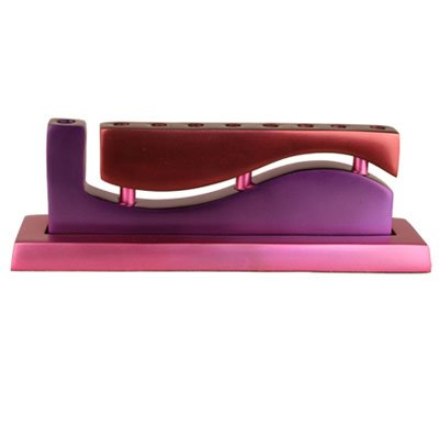 Anodized Aluminum Purple and Red ''Wave'' Hanukkah Menorah By Yair Emanuel