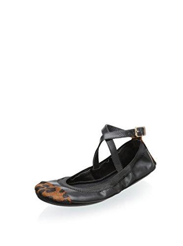 (Yosi Samra Women's Maya Two Tone Crossover Ankle Strap Flat, Black/Dark Leopard, 9 M US)