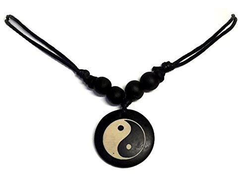 (LAVIP Leather Yin Yang Necklace Ying Yang Pendant Tai-chi Symbol Tao Necklace Feng Shui Necklace)