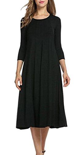 Jaycargogo Womens Ras Du Cou Couleur Unie Robe Midi Élégante Partie Noire