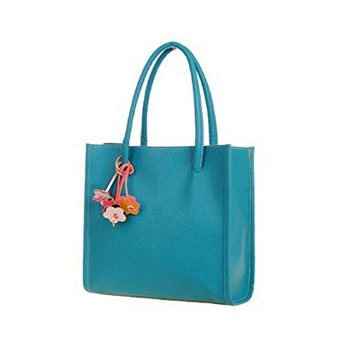 Big Sale! Fashion Elegant Girls Handbags PU Leather Shoulder Bag Clutches Candy Color Flowers Women Totes Purse (Blue)]()