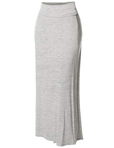 Stylish Fold Over Flare Long Maxi Skirt - Made in USA Light Heather Grey L