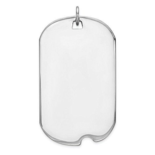 Solid 14k White Gold Plain .035 Gauge Engravable Dog Tag with Notch Disc Pendant Charm (19mm x 39mm)