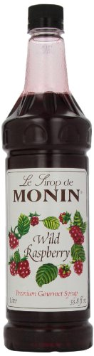 Monin Flavored Syrup, Wild Raspberry, 33.8-Ounce Plastic Bottles (Pack of 4)