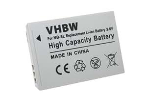vhbw Li-Ion Batería 650mAh para Canon Powershot S100, S110, S 100, 110, es equivalente a la original: NB-5L