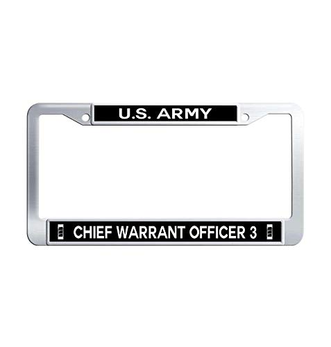 Nuoousol U.S. Army Chief Warrant Officer 3 License Plate Frame, Hippie Stainless Steel Waterproof Metal License Cover Holder with Bolts Washer Caps for US ()