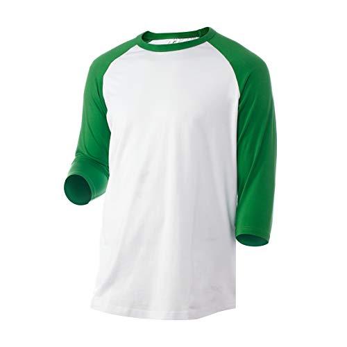 Rich Cotton Raglan T-Shirt (S, White/Green)