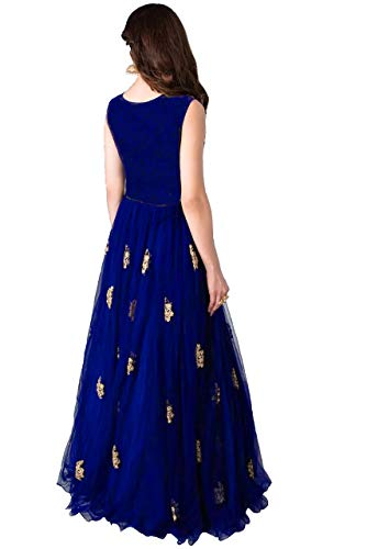 31u%2BafhkfuL Varudi Fashion Multi Color Heavy Soft Net Fabric Embroidery Work Round Neck Sleevesless Long Semi Sticthed Gown For…