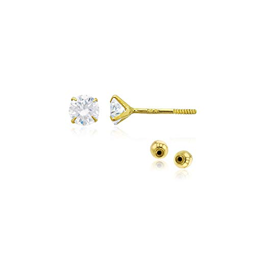 (Decadence Women's 14k Yellow Gold 3mm Round Solitaire Ball Screw Back Stud Earrings)