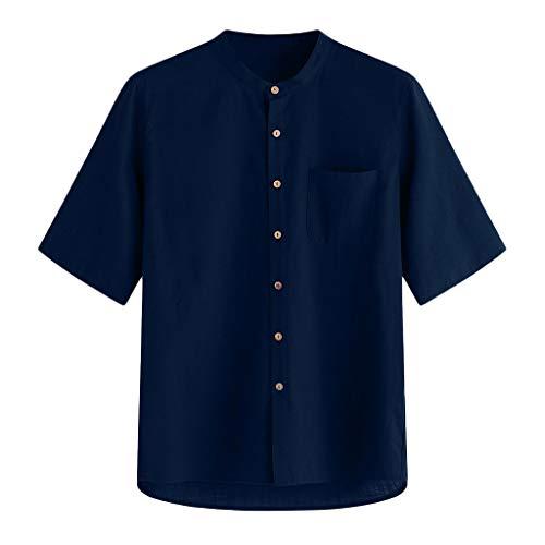 Mens Casual Linen Shirt Tronet Men's Baggy Stripe Cotton Linen Short Sleeve Button Pocket T Shirts Tops Blouse
