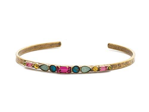 Baguette Gold Tone Bracelet - Sorrelli Plumeria Botanical Brights Swarovski Crystal Antique Goldtone Cuff Bracelet