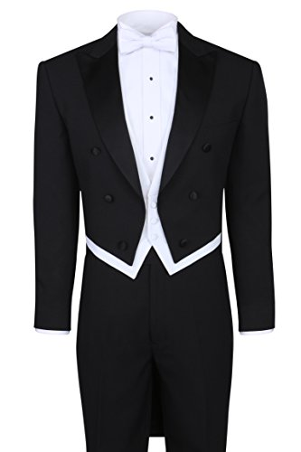 Peak Tailcoat - Black Tailcoat Tuxedo & Tuxedo Pants - 46 Regular