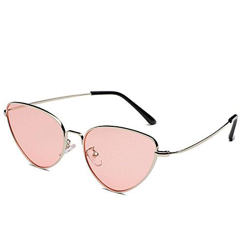 GSHGA marco Sunglasses Mujeres Europe metal frame Eye pink Nuevo Cat Silver MAIDIS de film Vintage Sunglasses r1fnEaq1w