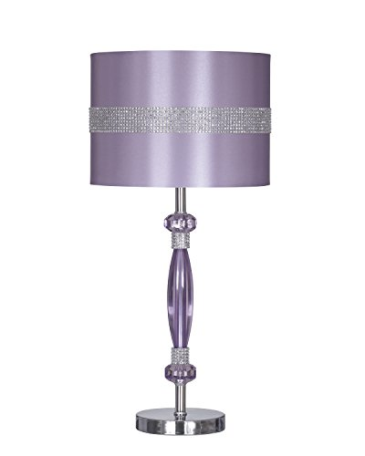 Signature Design by Ashley – Nyssa Table Lamp with Drum Shade – Rhinestone Accents – Purple Silver Finish
