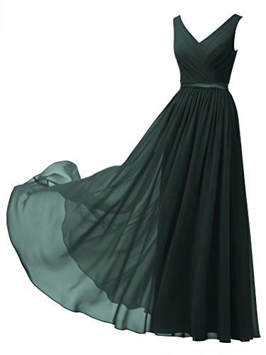 Alicepub V-Neck Chiffon Bridesmaid Dress Long Party Prom Evening Dress Sleeveless, Dark Emerald, US14