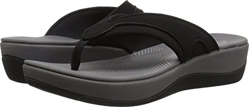 CLARKS Women's Arla Marina Flip-Flop, Black Synthetic/Textile Combi, 8 Medium US