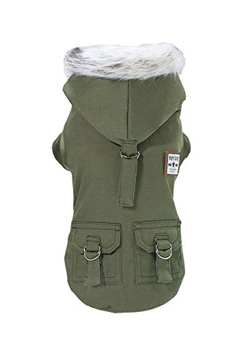 Rdc Pet Dog Hoodies, Work Clothes, Thickened Dog Overall, Dog Military Uniform, Army Hoodie Sweater, Cotton Jacket Fur Coat for Small Dog & Medium Dog & Cat (Green,S)