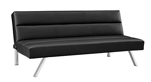 - DHP Katherine Faux Leather Futon, with Chrome Legs and Memory Foam Seat, Blue Linen