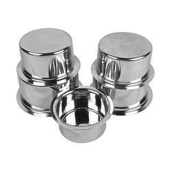Jagani Steels Grade Stainless Steel Patila Flat Bottom Container Ganj Tapeli With Lid Set by Jagani Steels (Image #1)