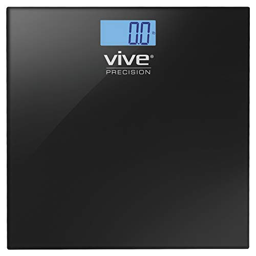 Vive Precision Bathroom Scale - Heavy Duty Electric Body Weight Measuring Device - Digital Home Bath Scale, Easy to Read, Backlit Display - Accurate Dietary Weighing (Black)