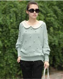 Solid Loose Cotton Blends Round Neck Bat Wing Long Sleeve Women Sweater