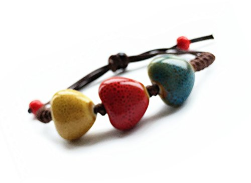 Fashion Jewelry Handmade Colorful Unisex Geometric Shape Ceramic Porcelain Bracelet (Heart 16mm (Mens Dress Up Outfits)