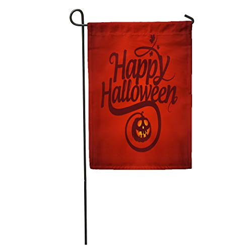 Semtomn Garden Flag Red Text Happy Halloween Calligraphic Pumpkin Graphic Fall Creepy Treat Home Yard House Decor Barnner Outdoor Stand 28x40 Inches Flag -