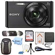 Sony DSC-W830 Cyber-Shot 20.1MP Digital Camera + 64GB Memory Card & Accessory Bundle ()