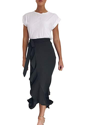Women's Ruffle Leopard Print Wrap Skirt Wide Leg Split Tie-Waist Maxi Long Palazzo A Line Midi Skirt (S, Dark Green) Belted Animal Print Skirt