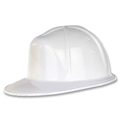 Club Pack of 48 White Plastic Construction Helmet Costume -