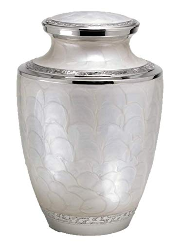 (Adult Size Solid Brass Gorgeous Funeral Cremation Urn With Velvet Bag)