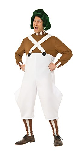 Oompa Loompa Halloween Costumes Adults (Rubie's Men's Willy Wonka and The Chocolate Factory Deluxe Oompa Loompa Costume, Multi, Standard)