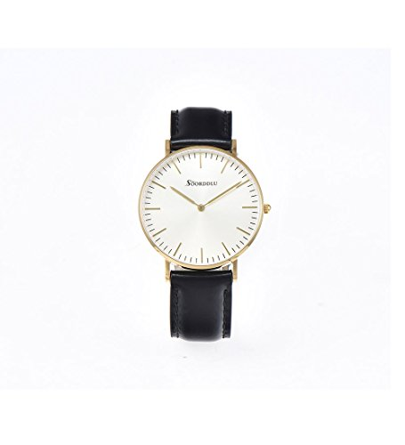 Women's Ultra-Thin Quartz 36mm Champagne Dial with Black Leather Watch Waterproof Quartz Wrist Watch Fashion Casual Leather Strap For Female IPG Electroplate Gold Watch Case