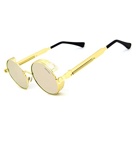 Ronsou Steampunk Style Round Vintage Polarized Sunglasses Retro Eyewear UV400 Protection Matel Frame golden frame/pink ()
