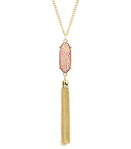 KISSPAT 14K Gold Tone Long Pink Necklaces for Woman Faux Druzy Pendant Necklaces Tassel Fringe Jewelry Gift for Her
