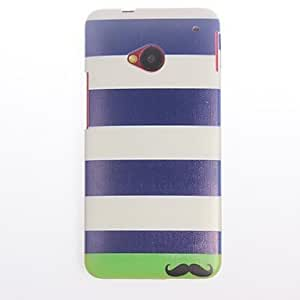 Stripe and Mustache Pattern PC Hard Case for HTC M7