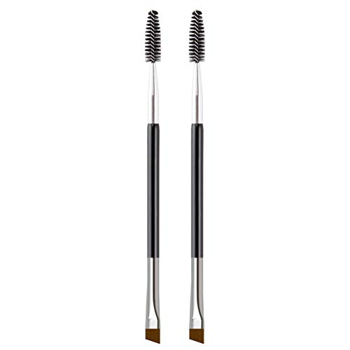 KINGMAS Duo Eyebrow Brush - 2Pcs Professional Angled Eye Brow Brush and Spoolie Brush (Black)