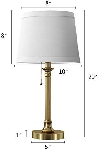 Modern Table Lamp Set Of 2 For Bedroom Living Room 20 Bedside Reading Lamps With White Drum Shade Antique Brass Desk Lamp Retro Light Amazon Co Uk Lighting