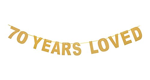 Qibote Gold Glitter 70 Years Loved Banner for 70th Birthday, 70 Wedding Anniversary Party -