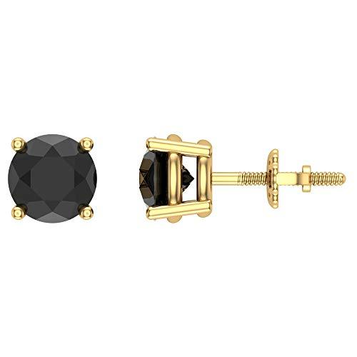 Round Cut Black Diamond Stud Earrings 2.00 carat total weight 14K Yellow Gold