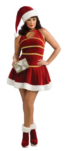Secret Wishes Santa Dress, Hat, And Boot Tops, Red, Plus Size (Plus Size Sexy Santa Christmas Costume)