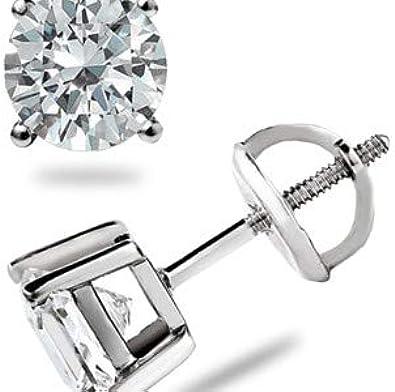 Forever Diamonds Corte redondo Diamante real Stud Pendientes de cuatro dientes de oro blanco sólido de mujer