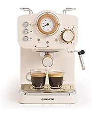 IKOHS THERA Retro Express koffiezetapparaat voor espresso en cappuccino, 1100 W, 15 bar, draaibare stoomstrijkijzer, capaciteit 1,25 l, gemalen koffie en enkele pads, met dubbele uitgang