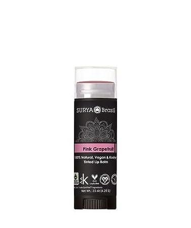 Surya Brasil - 100% Natural Vegan Tinted Lip Balm Pomegranate - 0.15 oz. (pack of 4) Miconazole 1% Cream 1oz by Qualitest Pack of Six