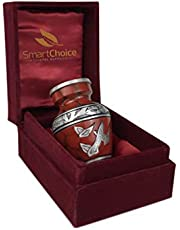SmartChoice Urn Keepsake for Ashes Cremation Urn Keepsake for Human Ashes - Affordable Funeral Keepsake Urn for Ashes Handcrafted Urn Royal Red W/T Doves