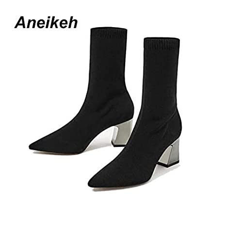cf8b2f01899c Amazon.com  DingXiong Fashion Ankle Elastic Sock Boots Chunky High ...