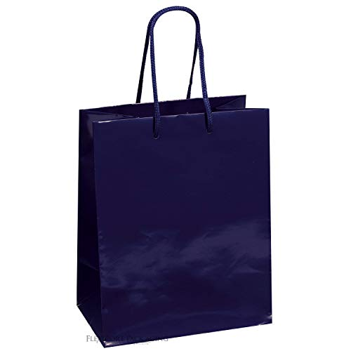 "Kraft Klassics 25 Navy Blue Gloss Laminated Heavy Paper Tote Bag with Soft Cord Handle (8""x4""x10"")"