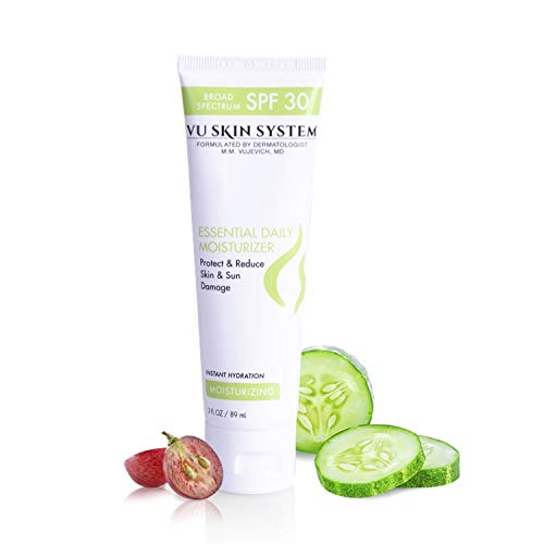 (VU Skin System Essential Daily Moisturizer with SPF 30 - Doctor Formulated Facial Moisturizer with Cucumber and Grape Seed Extracts Hydrates and Protects Skin (3 oz) )