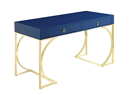 Scott Living 802071 Odessa 2-Drawer Writing Desk Glossy Blue/Brass