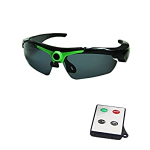 JOYCAM Polarized Sunglasses Camera Video Recording UV400 Glasses HD 720P DVR Eyewear Camcorder with Remote Control (Green)